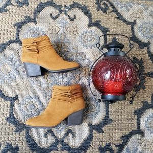 Bamboo Suede strappy ankle booties 7.5